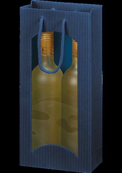 Flaschentüte mit Sichtfenster Wellpappe blau