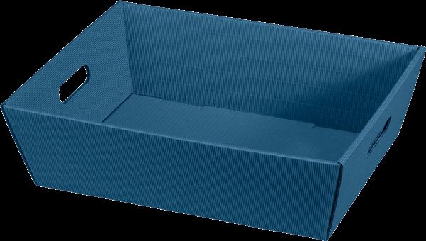 Geschenkkorb Wellpappe rechteckig blau uni -groß-