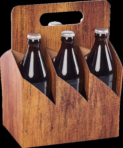 Tragekarton Timber für 6 Bierflaschen - Naturgetreue Holzoptik