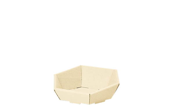 Präsentkorb Wellpappe sechseckig creme -mini-
