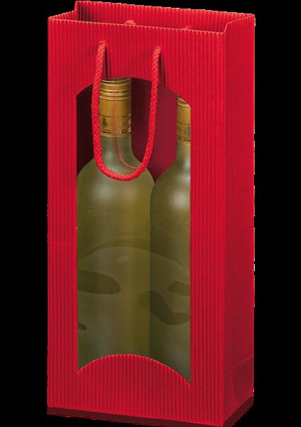 Flaschentüte mit Sichtfenster Wellpappe rot