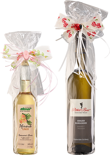 Geschenkverpackung für Flaschen aus Celophan mit Schmuckschleife