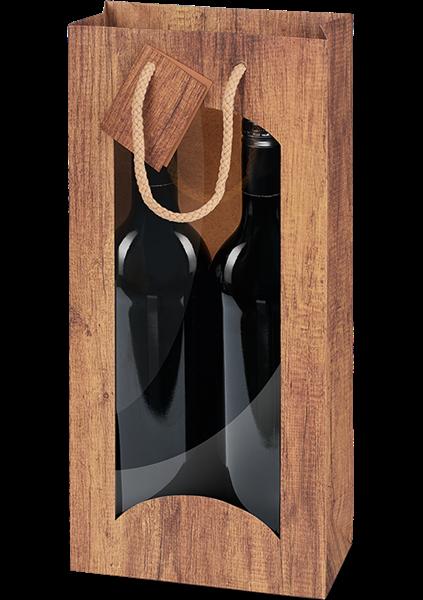 Flaschentüte mit Sichtfenster Timber (Holzoptik) für 2 Flaschen
