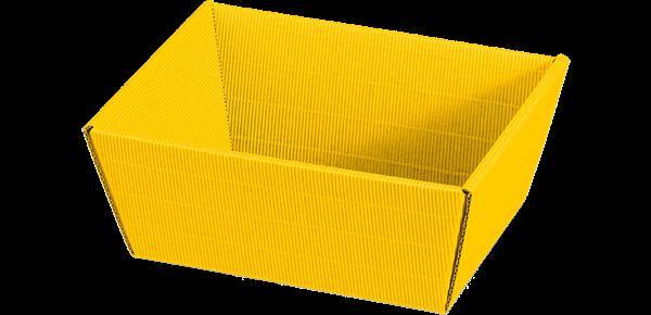 Geschenkkorb Wellpappe rechteckig gelb -klein-