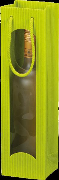 Flaschentüte mit Sichtfenster Wellpappe limette