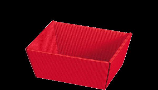 Geschenkkorb Wellpappe rechteckig rot uni -klein-