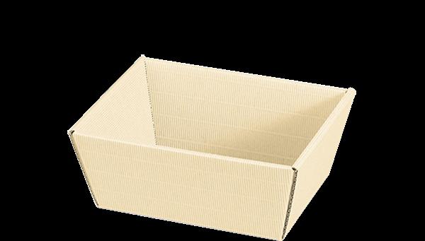 Präsentkorb uni rechteckig Wellpappe creme -klein-