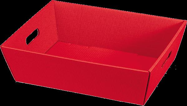 Geschenkkorb Wellpappe rechteckig rot uni -groß-