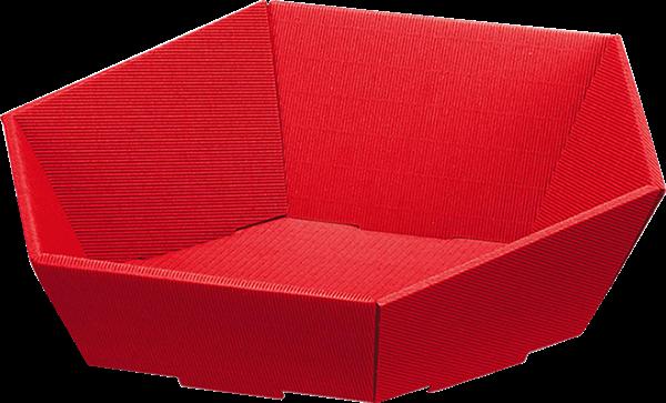 Präsentkorb Wellpappe sechseckig rot -groß-