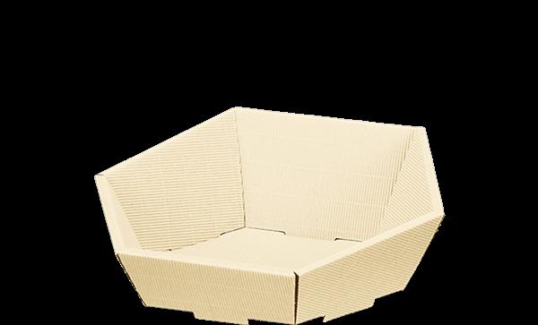 Präsentkorb Wellpappe sechseckig creme -klein-