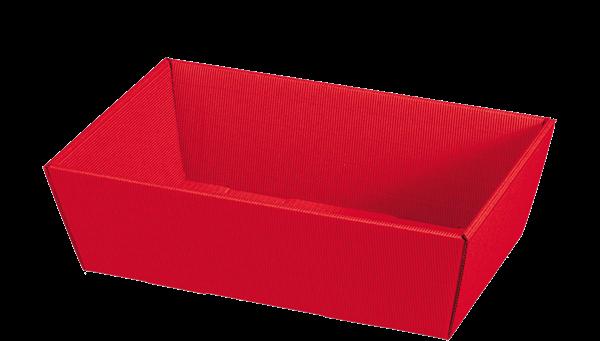 Geschenkkorb Wellpappe rechteckig rot uni -mittel-
