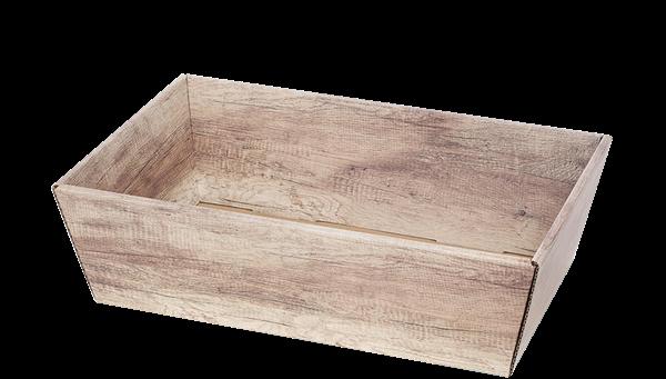 Präsentkorb uni rechteckig Wellpappe Wood (Holzoptik) -mittel-